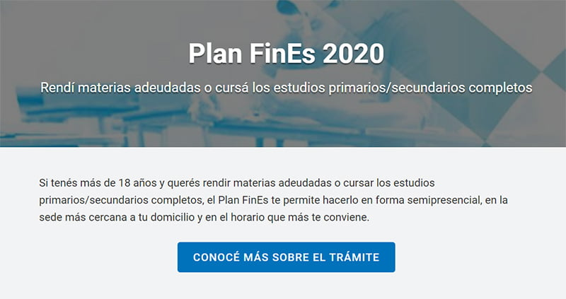 Inscripción Plan Fines 2020